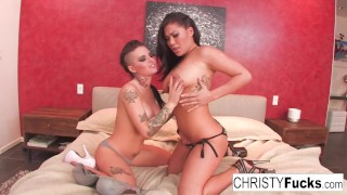 Christy Mack and London Keyes take on Ramon's huge cock  big ass christy mack big tits dicked down ass boobs asian blowjob christymack pornstar puba cumshot tattoo hardcore pussy sex christyfucks big boobs slim thick
