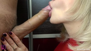 Teen Closeup Blowjob and Horny Swallow Cum, 4K (Ultra HD) - Kriss Kiss