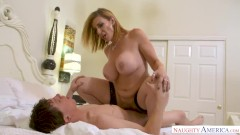 MILF Sara Jay punishes her sons friend with her pussy!