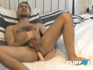 Antonio West on Flirt4Free Guys - Hunk Fucks His Ass and Cums on Hairy Abs