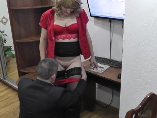 Office secretary. Boss fucks secretary and cumshot. Hidden camera office