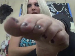 Blonde Goth Girl with Big Feet Makes you Suck Her Toes