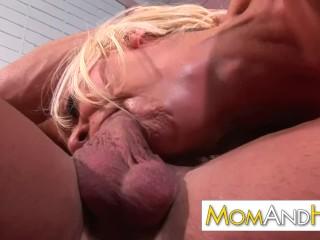 spitting on MILF mom pussy
