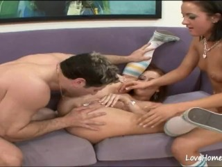 Two hot girls are sharing his hard pecker