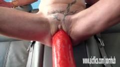 Gigantic dildo fucking mature amateur wife