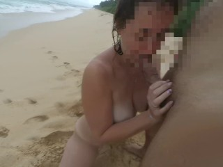 Wife playing with my dick on a puplic beach and pissing on me. Srilanka POV