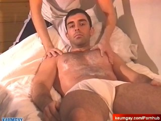 Esteban's big dick massage! (salesman seduced for gay porn)