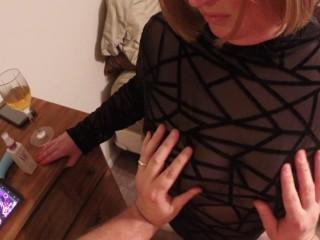 Rubbing Brenda's tits