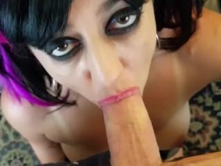 POV HD close up sexy lips blowjob huge cum swallow