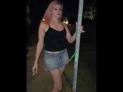 Me dancing on a sign in public trying to have a standing orgasm