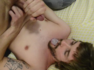 Self Facial/Swallowing my own cum.;)