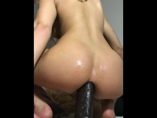 Blonde hot Teen forces 14inch BBC in her tight little ass