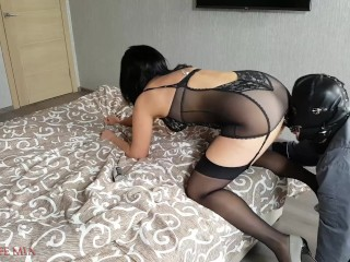 Strict Wife Mia fucks a strapon on the slave's face