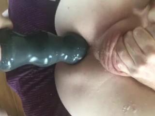 Femdom huge strap on destroys his man cunt