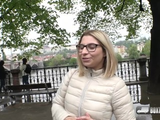Short haired blonde Katie Hill loving her first time fuck in public