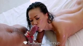 PureMature Tiny asian Kalina Ryu rubs her lubed up body all over big dick  babe creampie hd old asian mom blowjob small tits massage milf hardcore puremature mature sex mother kalina ryu