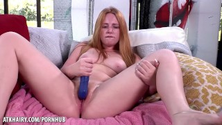 Red headed fire bush Lucy Foxx fucking a toy