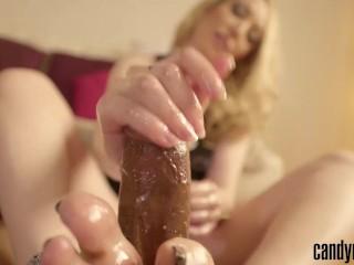 Candy May - BBC HANDJOB + FOOTJOB