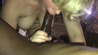 Cammie cumz sucks Bbc while husband pops in the room to take pics  married whore cammie cumz bbc blowjob