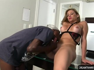 Horny Tgirl Luana Pacheco Sucks a Black Dick and Has Her Asshole Licked