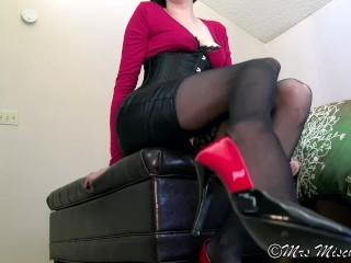 Mercy, Mistress - femdom stockings foot worship pov