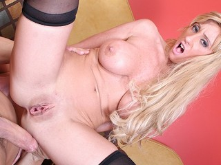 Busty blonde MILF gets a huge dick up her ass