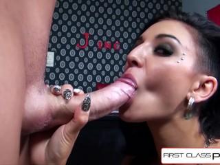 FirstClassPOV - Teen Aimee Black sucking a big dick, big booty