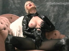 Nylon clad blonde rubs her soft leather gloves against big tits wet pussy