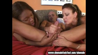 Sexy Black Shemale Joins a couple in bed - Shemale Fuck Fest