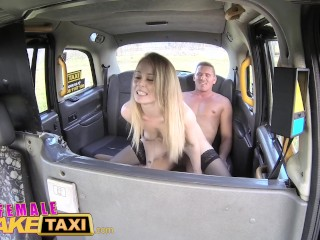 Female Fake Taxi Horny lady taxi driver rides big cock in stockings