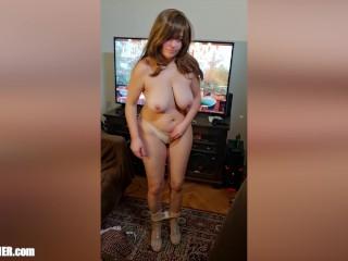 Busty Camgirl Strip Solo